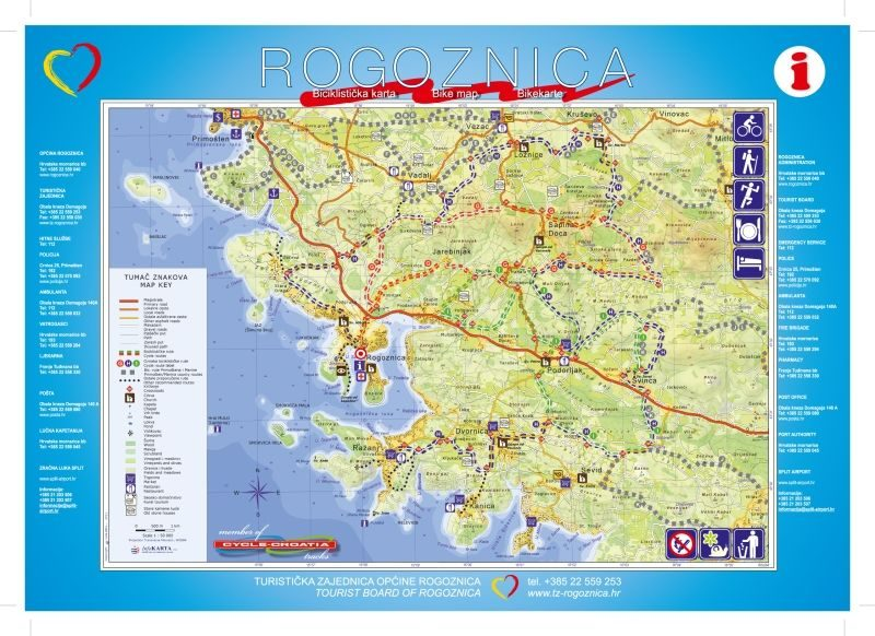 Map - Rogoznica Area with Bike routes